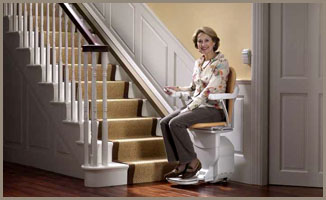 Stair lift at the bottom of the stairs